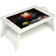 Столик для завтрака в постель «Цитрусовый микс» с ручками цвет белый