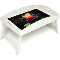 Столик для завтрака в постель «Русская берёза», «Цитрусовый микс» с высоким бортиком цвет белый