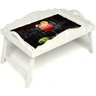 Столик для завтрака в постель «Русская берёза», «Цитрусовый микс» с фигурным бортиком цвет белый