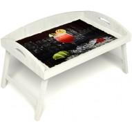 Столик для завтрака в постель «Русская берёза», «Цитрусовый микс» с 3-мя высокими бортиками цвет белый