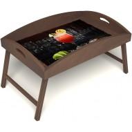 Столик для завтрака в постель «Русская берёза», «Цитрусовый микс» с высоким бортиком цвет орех