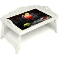 Столик для завтрака в постель «Русская берёза», «Цитрусовый микс» с 3-мя фигурными бортиками цвет белый