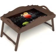 Столик для завтрака в постель «Русская берёза», «Цитрусовый микс» с фигурным бортиком цвет орех