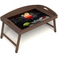 Столик для завтрака в постель «Русская берёза», «Цитрусовый микс» с 3-мя высокими бортиками цвет орех