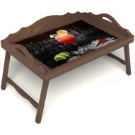 Столик для завтрака в постель «Цитрусовый микс» с 3-мя фигурными бортиками цвет орех
