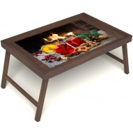 Столик для завтрака в постель «У камина вдвоем» без ручек цвет орех