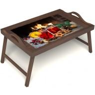 Столик для завтрака в постель «У камина вдвоем» с ручками цвет орех