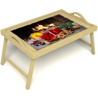 Столик для завтрака в постель «Русская берёза», «У камина вдвоем» с ручками цвет светлый