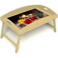 Столик для завтрака в постель «Русская берёза», «У камина вдвоем» с высоким бортиком цвет светлый