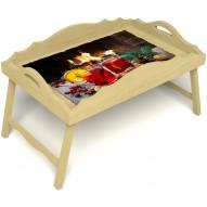Столик для завтрака в постель «Русская берёза», «У камина вдвоем» с фигурным бортиком цвет светлый
