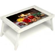 Столик для завтрака в постель «Русская берёза», «У камина вдвоем» без ручек цвет белый