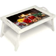 Столик для завтрака в постель «Русская берёза», «У камина вдвоем» с ручками цвет белый