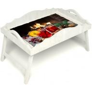 Столик для завтрака в постель «Русская берёза», «У камина вдвоем» с фигурным бортиком цвет белый