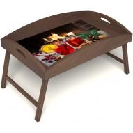 Столик для завтрака в постель «Русская берёза», «У камина вдвоем» с высоким бортиком цвет орех