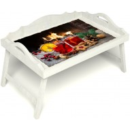 Столик для завтрака в постель «Русская берёза», «У камина вдвоем» с 3-мя фигурными бортиками цвет белый