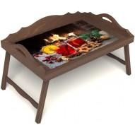 Столик для завтрака в постель «Русская берёза», «У камина вдвоем» с 3-мя фигурными бортиками цвет орех