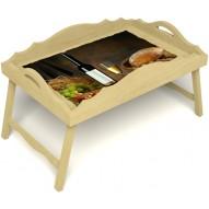 Столик для завтрака в постель «Русская берёза», «Утонченный вкус» с фигурным бортиком цвет светлый