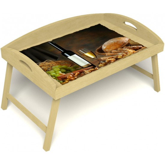Столик для завтрака в постель «Русская берёза», «Утонченный вкус» с 3-мя высокими бортиками цвет светлый