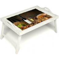 Столик для завтрака в постель «Утонченный вкус» с ручками цвет белый