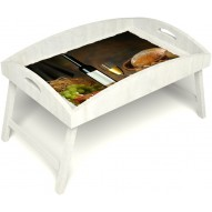 Столик для завтрака в постель «Русская берёза», «Утонченный вкус» с высоким бортиком цвет белый