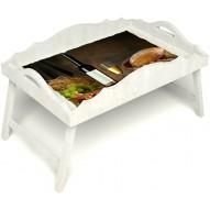 Столик для завтрака в постель «Русская берёза», «Утонченный вкус» с фигурным бортиком цвет белый