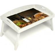 Столик для завтрака в постель «Русская берёза», «Утонченный вкус» с 3-мя высокими бортиками цвет белый