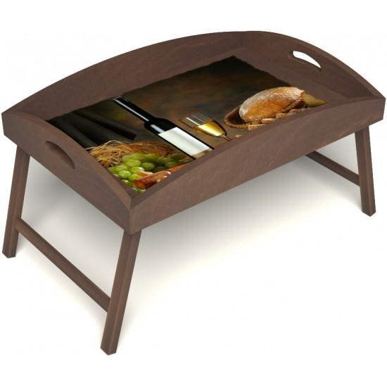 Столик для завтрака в постель «Русская берёза», «Утонченный вкус» с высоким бортиком цвет орех