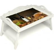 Столик для завтрака в постель «Русская берёза», «Утонченный вкус» с 3-мя фигурными бортиками цвет белый