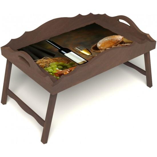Столик для завтрака в постель «Русская берёза», «Утонченный вкус» с фигурным бортиком цвет орех