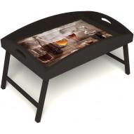 Столик для завтрака в постель «Русская берёза», «В кругу друзей» с высоким бортиком цвет венге