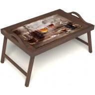 Столик для завтрака в постель «В кругу друзей» с ручками цвет орех