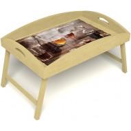 Столик для завтрака в постель «Русская берёза», «В кругу друзей» с высоким бортиком цвет светлый