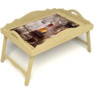 Столик для завтрака в постель «Русская берёза», «В кругу друзей» с фигурным бортиком цвет светлый
