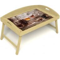 Столик для завтрака в постель «Русская берёза», «В кругу друзей» с 3-мя высокими бортиками цвет светлый