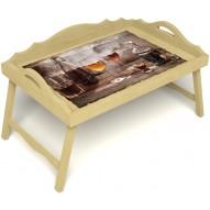 Столик для завтрака в постель «Русская берёза», «В кругу друзей» с 3-мя фигурными бортиками цвет светлый