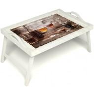 Столик для завтрака в постель «В кругу друзей» с ручками цвет белый