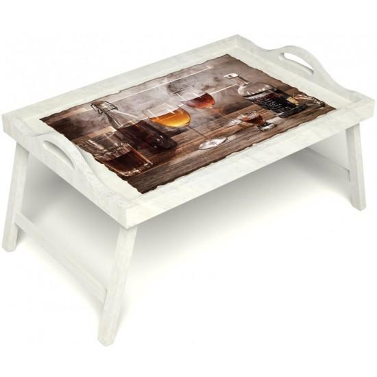 Столик для завтрака в постель «Русская берёза», «В кругу друзей» с ручками цвет белый