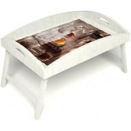 Столик для завтрака в постель «Русская берёза», «В кругу друзей» с высоким бортиком цвет белый
