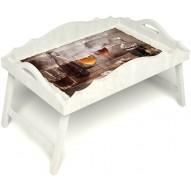 Столик для завтрака в постель «Русская берёза», «В кругу друзей» с фигурным бортиком цвет белый