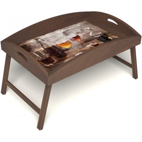 Столик для завтрака в постель «Русская берёза», «В кругу друзей» с высоким бортиком цвет орех