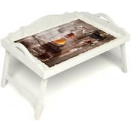 Столик для завтрака в постель «Русская берёза», «В кругу друзей» с 3-мя фигурными бортиками цвет белый