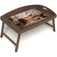 Столик для завтрака в постель «Русская берёза», «В кругу друзей» с 3-мя высокими бортиками цвет орех