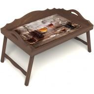 Столик для завтрака в постель «В кругу друзей» с 3-мя фигурными бортиками цвет орех