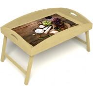 Столик для завтрака в постель «Русская берёза», «Вечер пятницы» с высоким бортиком цвет светлый