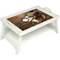 Столик для завтрака в постель «Вечер пятницы» с ручками цвет белый