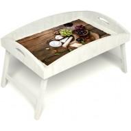 Столик для завтрака в постель «Русская берёза», «Вечер пятницы» с высоким бортиком цвет белый