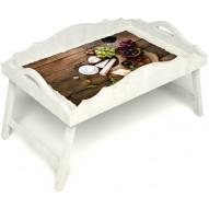 Столик для завтрака в постель «Русская берёза», «Вечер пятницы» с фигурным бортиком цвет белый