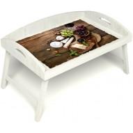 Столик для завтрака в постель «Русская берёза», «Вечер пятницы» с 3-мя высокими бортиками цвет белый