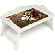 Столик для завтрака в постель «Русская берёза», «Вечер пятницы» с 3-мя фигурными бортиками цвет белый