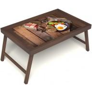 Столик для завтрака в постель «Идеальная яичница» без ручек цвет орех